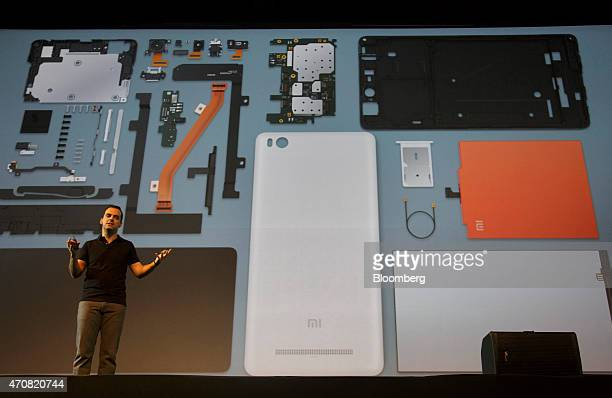 Hugo Barra vice president of Global Operations at Xiaomi Corp speaks on stage during a news conference in New Delhi India on Thursday April 23 2015...