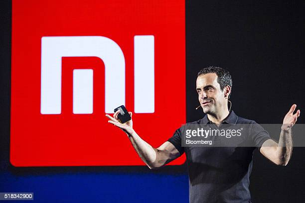 Hugo Barra vice president of global operations at Xiaomi Corp gestures while speaking during the launch of the company's Mi 5 smartphone in New Delhi...