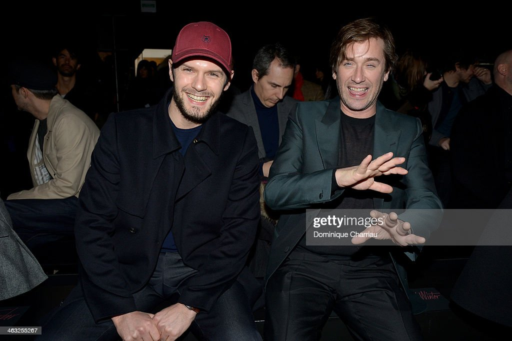 Hugo Becker and Thomas Dutronc attend the Cerruti Menswear Fall/Winter 20142015 Show as part of Paris Fashion Week on January 17 2014 in Paris France
