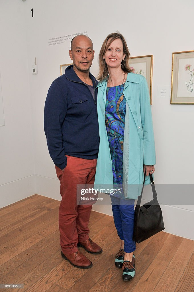 Hugo Brooks and Florina McEwan Brooks attend Rory McEwen - The Colours of Reality at Kew Gardens on May 20, 2013 in London, England.