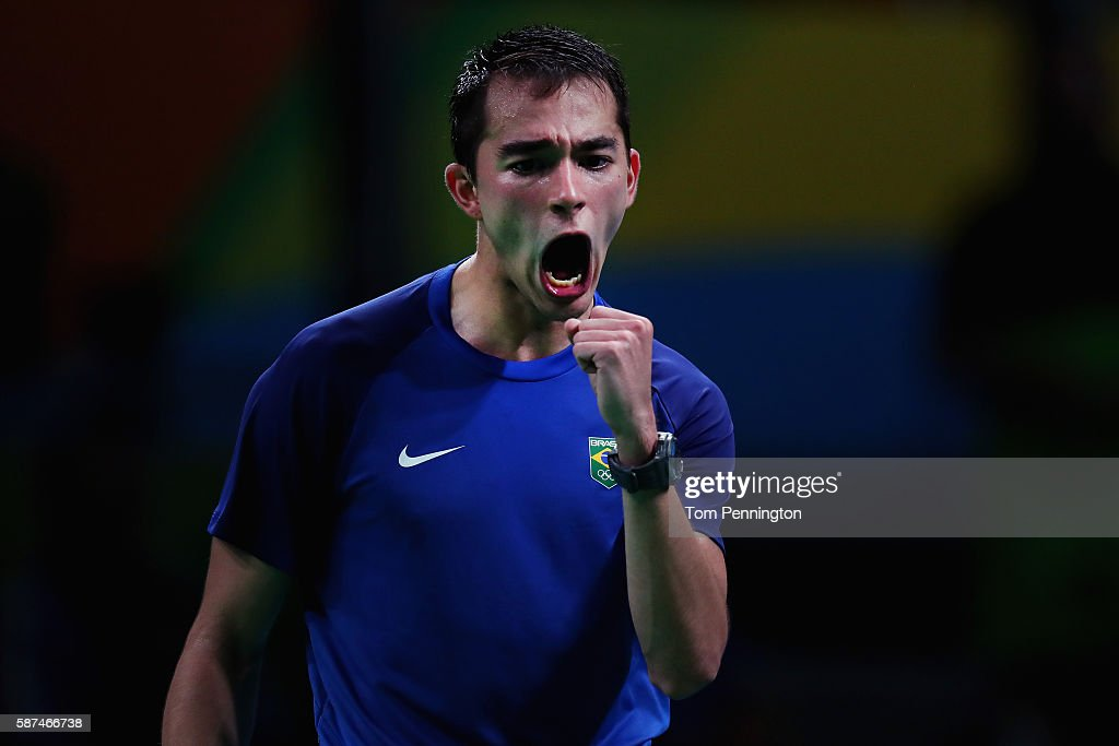 Hugo Calderano of Brazil reacts after scoring against Jun Mizutani of Japan during Round 4 of the Men's Singles Table Tennis on Day 3 of the Rio 2016 Olympic Games at Riocentro - Pavilion 3 on August 8, 2016 in Rio de Janeiro, Brazil.