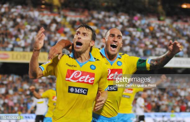 Hugo Campagnaro celebrates with his teammate Paolo Cannavaro after scoring a goal during the Serie A match between AC Cesena and SSC Napoli at Dino...