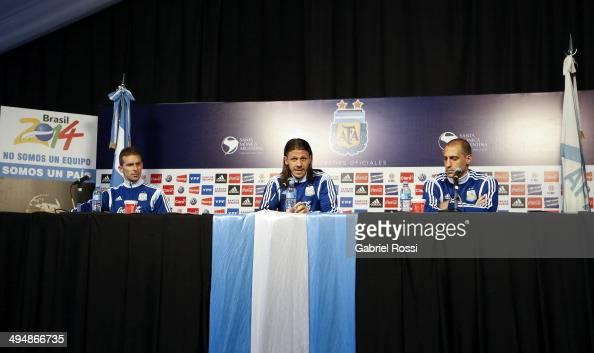 Hugo Campagnaro Martin Demichellis and Pablo Zabaleta attend a press conference at Ezeiza Training Camp on May 31 2014 in Ezeiza Argentina
