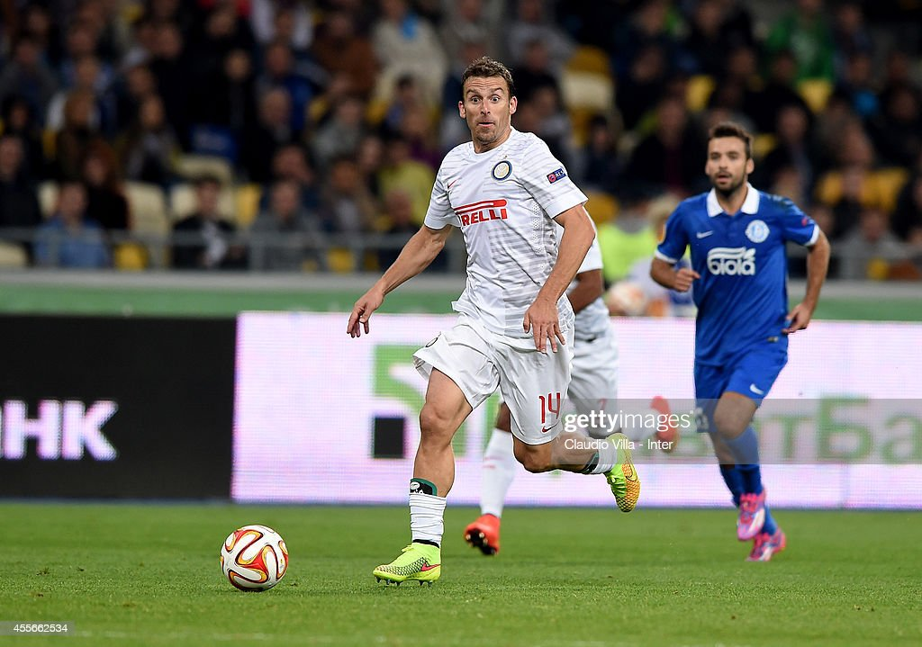 Hugo Campagnaro of FC Internazionale during the UEFA Europa League group F match between FC Dnipro Dnipropetrovsk and FC Internazionale Milano at Olimpiysky stadium on September 18, 2014 in Kiev, Ukraine.