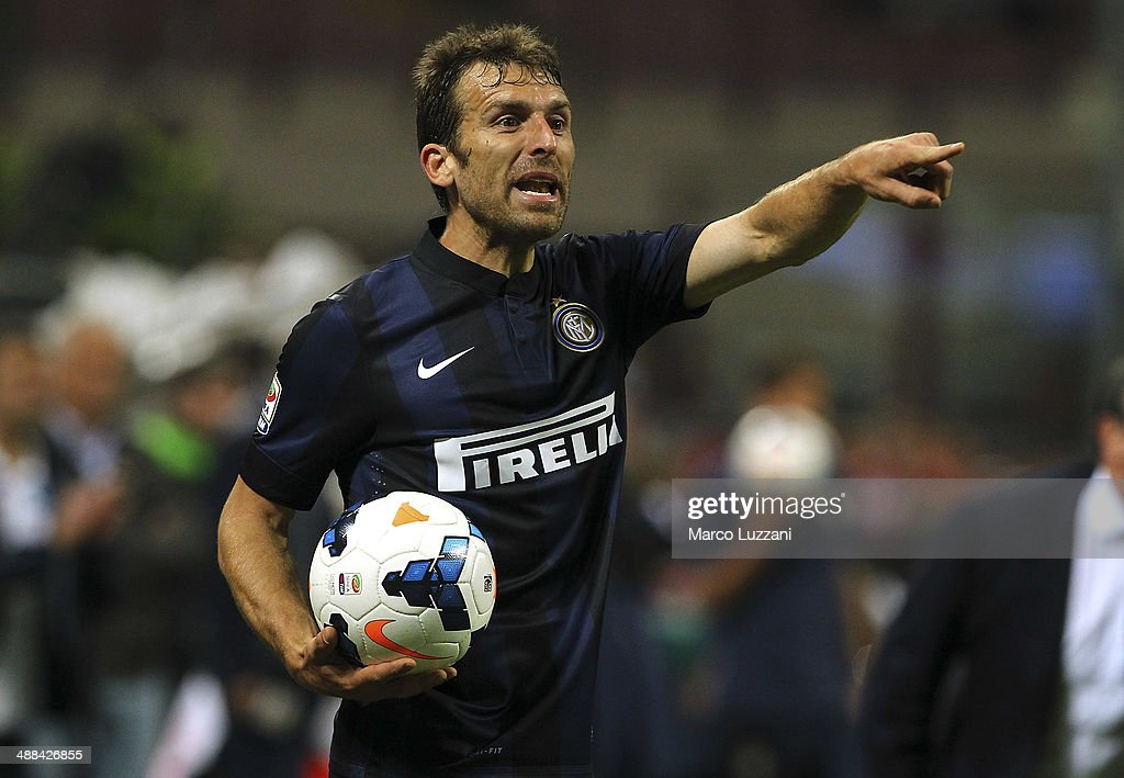 Hugo Campagnaro of FC Internazionale Milano gestures during the Serie A match between FC Internazionale Milano and SSC Napoli at San Siro Stadium on April 26, 2014 in Milan, Italy.