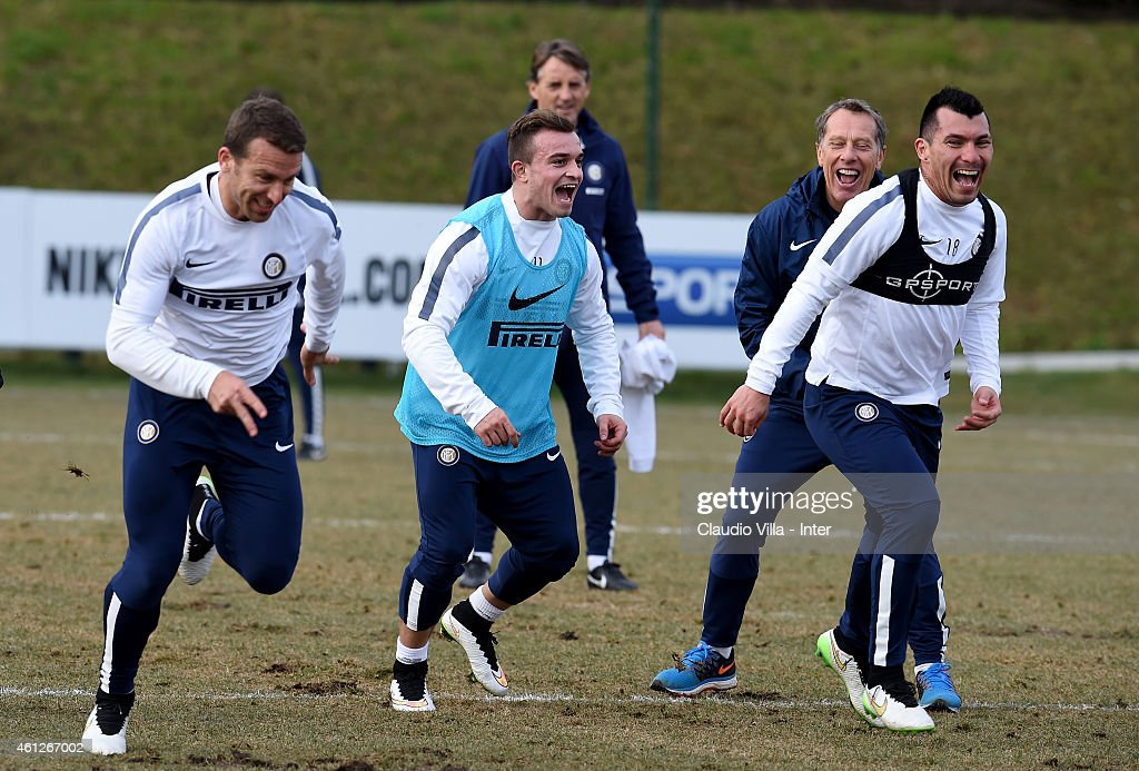 Hugo Campagnaro, Xherdan Shaqiri and Gary Medel during the FC Internazionale Training Session at Appiano Gentile on January 10, 2015 in Como, Italy.