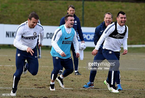 Hugo Campagnaro Xherdan Shaqiri and Gary Medel during the FC Internazionale Training Session at Appiano Gentile on January 10 2015 in Como Italy
