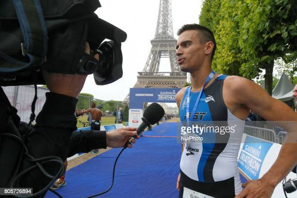 Hugo Celerier of France wins the mens race of the 2017 edition of the Paris triathlon on July 2 2017 in Paris An unprecedented course located amidst...