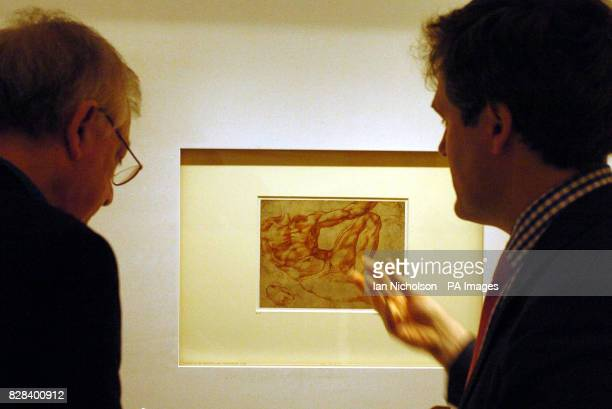 Hugo Chapman right curator at the British Museum discusses a preliminary sketch of a detail from the 'Creation of Adam' by the Renaissance artist...