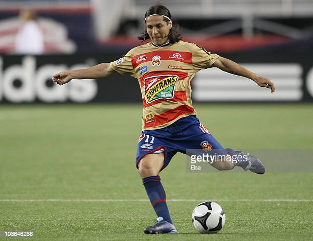 Hugo Droguet of Monarcas Morelia kicks the ball against the New England Revolution during the SuperLiga 2010 on September 1 2010 at Gillette Stadium...