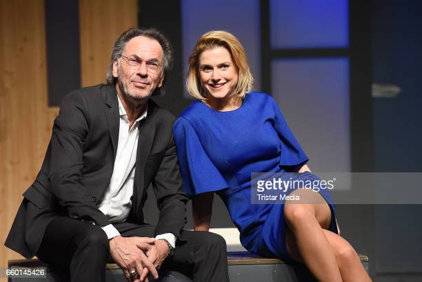 Hugo Egon Balder and Jeanette Biedermann attend the rehearsal for the play 'Aufguss' at Theater am Kurfuerstendamm on March 29 2017 in Berlin Germany