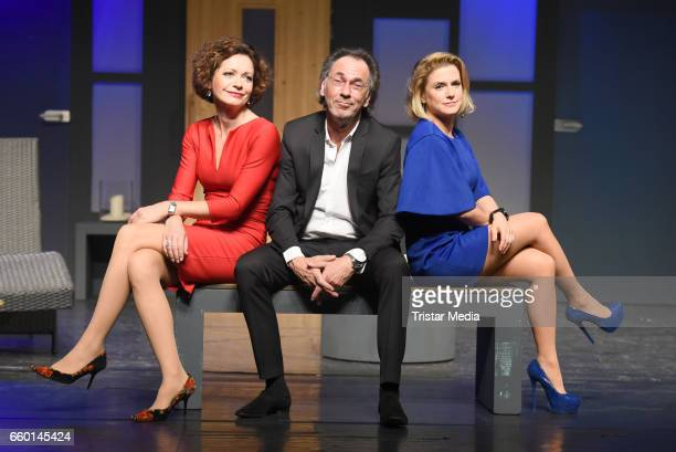 Hugo Egon Balder Madeleine Niesche and Jeanette Biedermann attend the rehearsal for the play 'Aufguss' at Theater am Kurfuerstendamm on March 29 2017...