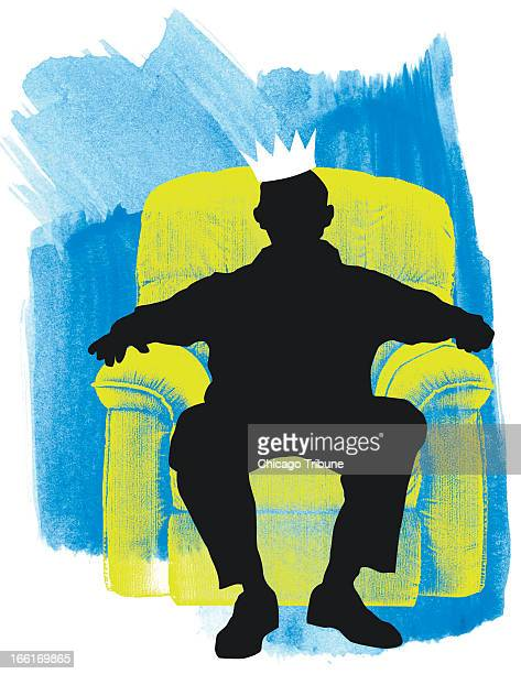 Hugo Espinoza color illustration of a silhouetted man with a crown on his head sitting in his reclining chair on Father's Day Dad is king of his...