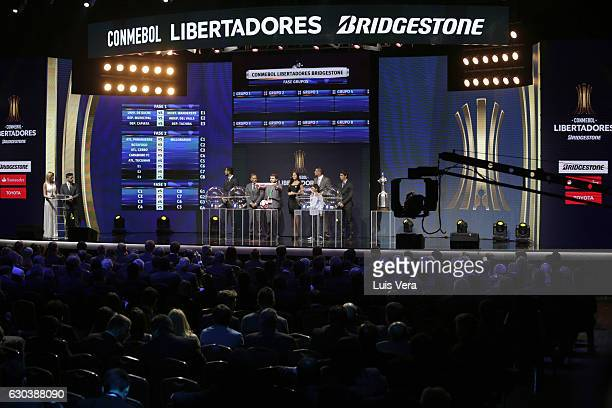 Hugo Figueredo Director of Competitions of CONMEBOL announces Colo Colo of Chile as part of round 2 during the Copa Libertadores 2017 Official Draw...