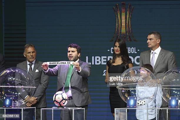 Hugo Figueredo Director of Competitions of CONMEBOL announces Barcelona of Ecuador as part of Group 1 during the Copa Libertadores 2017 Official Draw...