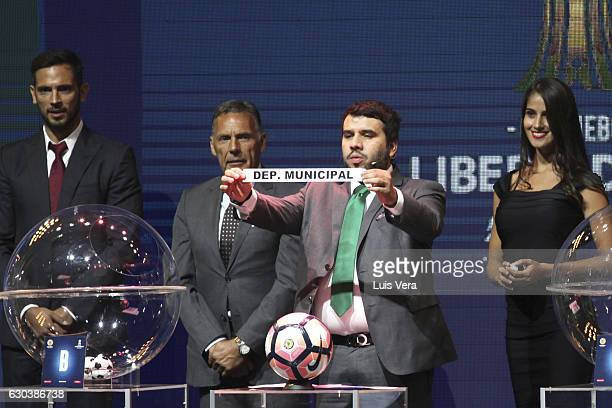 Hugo Figueredo Director of Competitions of CONMEBOL announces Deportivo Municipal of Peru as part of round 1 during the Copa Libertadores 2017...