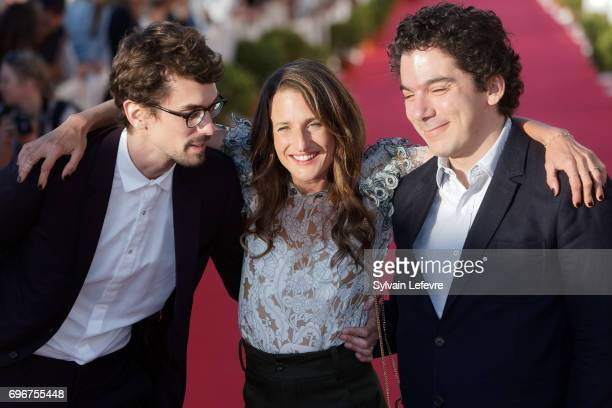 Hugo Gelin Camille Cottin and Nathanael Karmitz attend red carpet of 3rd day of the 31st Cabourg Film Festival on June 16 2017 in Cabourg France