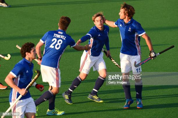 Hugo Genestet of France celebrate his goal with Etienne Tynevez and Guillaume Deront of France during day 8 of the FIH Hockey World League Men's Semi...