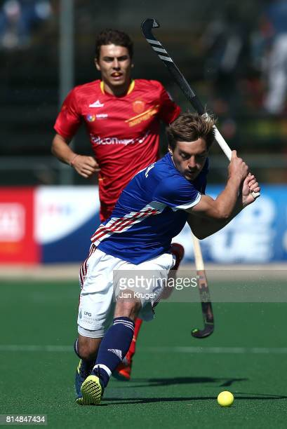 Hugo Genestet of France takes a shot at goal during day 4 of the FIH Hockey World League Men's Semi Finals Pool A match between France and Spain at...