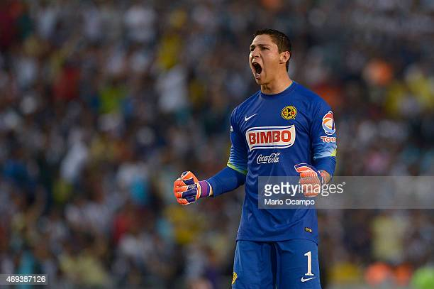 Hugo Gonzalez goalkeeper of America celebrates his team's first goal scored by Pablo Aguilar during a match between Monterrey and America as part of...