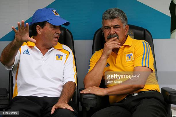 Hugo Hernandez coach asistain and coach Ricardo Ferretti of Tigres during the Apertura 2011 Tournament in the Mexican Football League at...