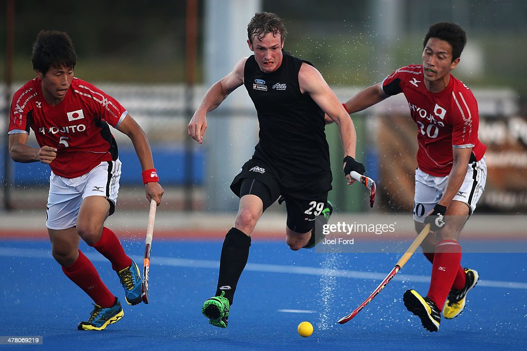 Hugo Inglis of New Zealand runs with the ball during the Test Match between the New Zealand Black Sticks and Japan at Blake Park on March 12, 2014 in Mount Maunganui, New Zealand.