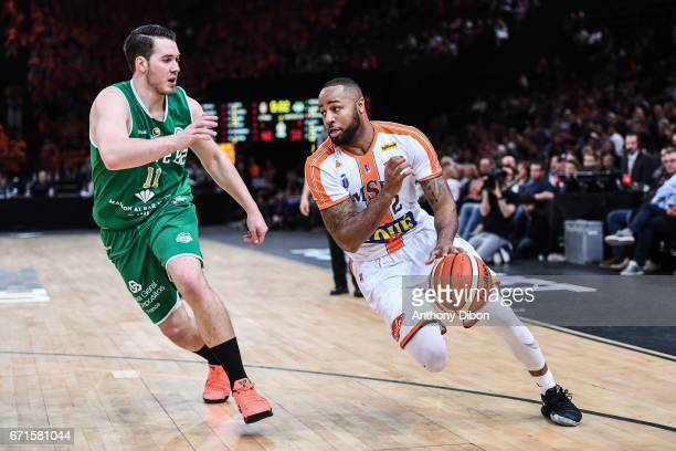 Hugo Invernizzi of Nanterre and Shannon Shorter of Le Mans during the Final of the French Cup between Le Mans and JSF Nanterre at AccorHotels Arena...