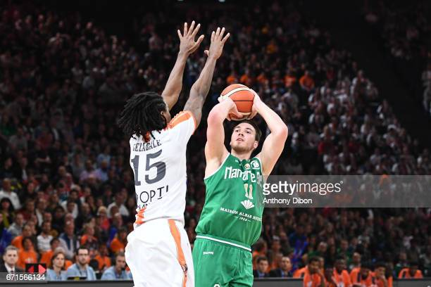 Hugo Invernizzi of Nanterre during the Final of the French Cup between Le Mans and JSF Nanterre at AccorHotels Arena on April 22 2017 in Paris France