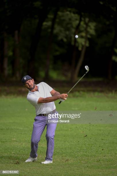 Hugo Leon of Chile chips up to 17th hole during the final round of the PGA TOUR Latinoamérica Flor de Cana Open at Mukul Beach Golf and Spa on...