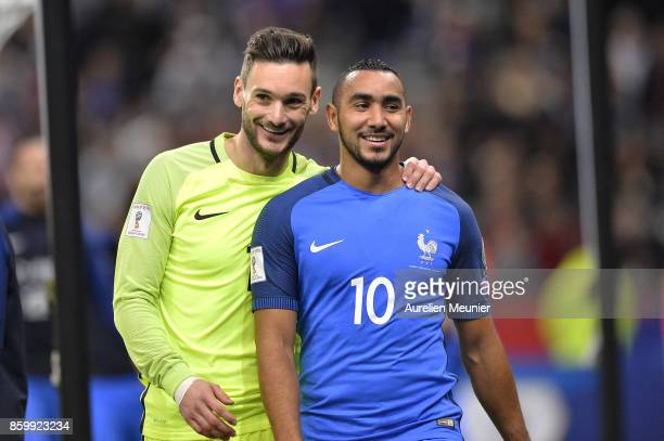 Hugo Lloris and Dimitri Payet of France react after the victory 20 over Belarus during the FIFA 2018 World Cup Qualifier between France and Belarus...