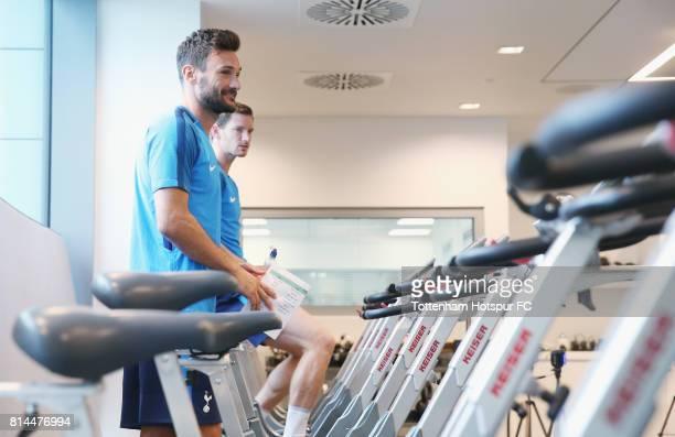 Hugo Lloris and Jan Vertonghen of Tottenham during the Tottenham Hotspur training session at Tottenham Hotspur Training Centre on July 14 2017 in...