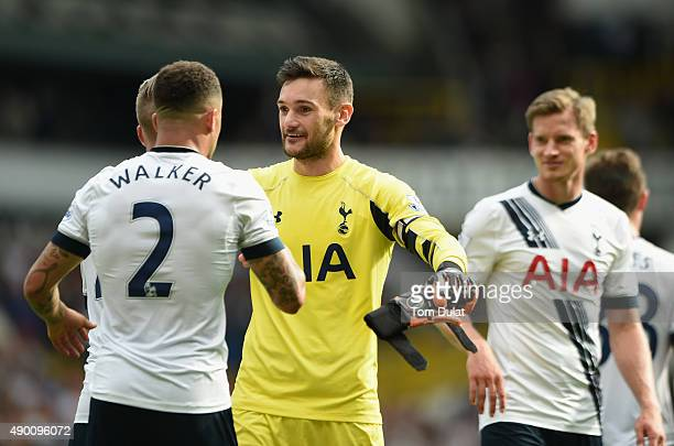 Hugo Lloris and Kyle Walker of Tottenham Hotspur celebrate their team's 41 win in the Barclays Premier League match between Tottenham Hotspur and...