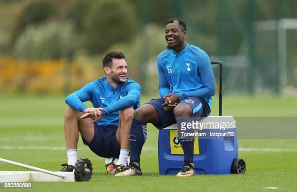 Hugo Lloris and Serge Aurier of Tottenham during the Tottenham Hotspur training session at Tottenham Hotspur Training Centre on September 21 2017 in...