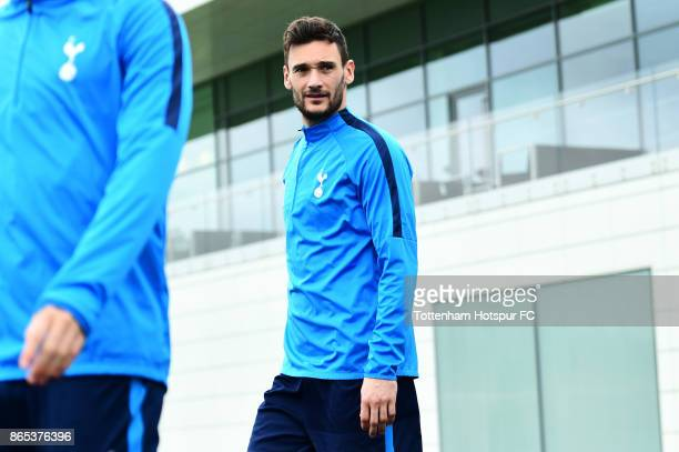 Hugo Lloris during the Tottenham Hotspur training session at Tottenham Hotspur Training Centre on October 23 2017 in Enfield England