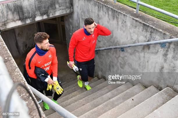 Hugo Lloris of France and Benoit Costil of France during the training session before the FIFA World Cup 2018 qualifying match between Luxembourg and...