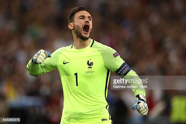 Hugo Lloris of France celebrates after teammate Antoine Griezmann scored a penalty to make the score 01 during the UEFA Euro 2016 Semi Final match...
