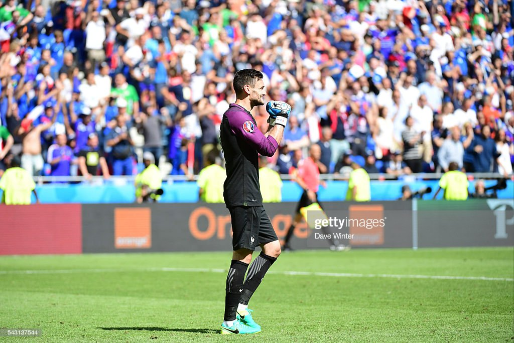 Hugo Lloris of France celebrates as his team win the European Championship match Round of 16 between France and Republic of Ireland at Stade des Lumieres on June 26, 2016 in Lyon, France.