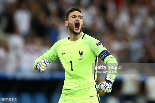 Hugo Lloris of France celebrates his side's first goal during the UEFA Euro 2016 Semi Final match between Germany and France at Stade Velodrome on...