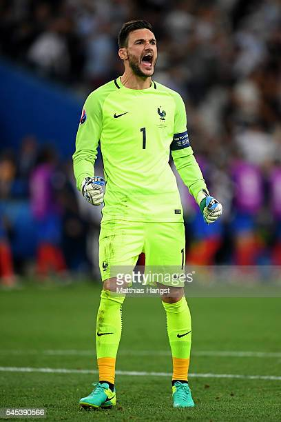 Hugo Lloris of France celebrates his team's first goal during the UEFA EURO semi final match between Germany and France at Stade Velodrome on July 7...