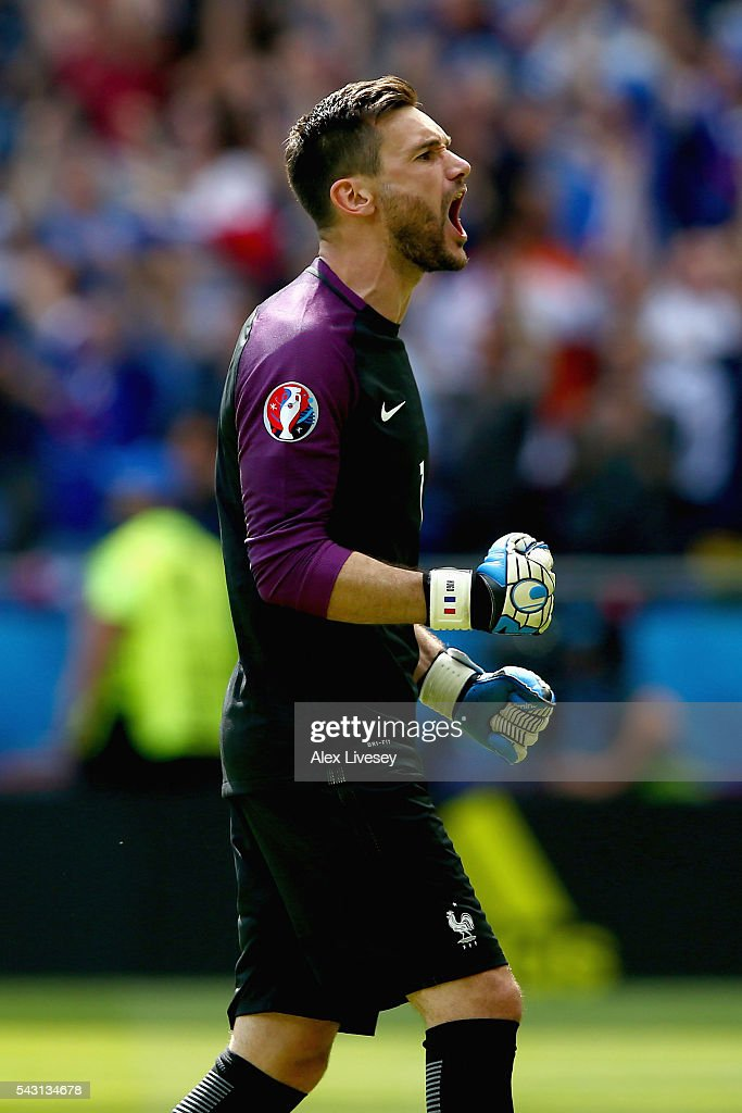 Hugo Lloris of France celebrates his team's second goal during the UEFA EURO 2016 round of 16 match between France and Republic of Ireland at Stade des Lumieres on June 26, 2016 in Lyon, France.