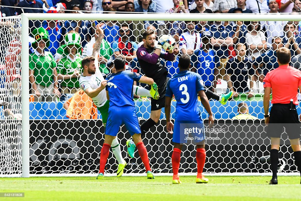 Hugo Lloris of France during the European Championship match Round of 16 between France and Republic of Ireland at Stade des Lumieres on June 26, 2016 in Lyon, France.