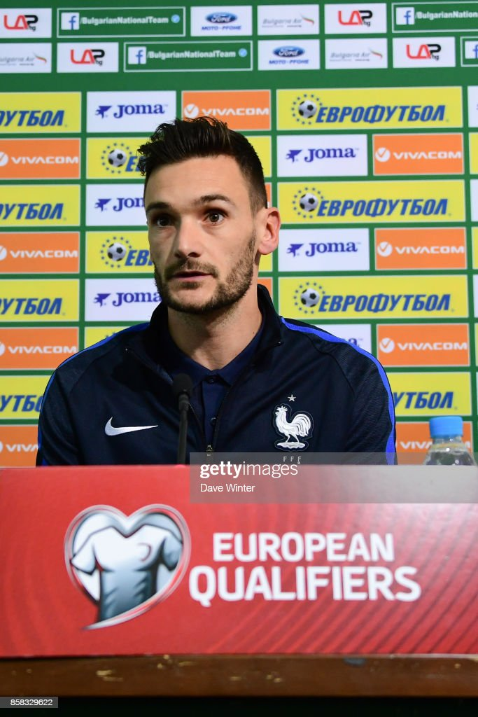 Hugo Lloris of France during the press conference of the France football team ahead of the World Cup qualifying match against Bulgaria on October 6, 2017 in Sofia, Bulgaria.