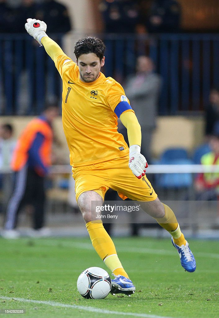 <a gi-track='captionPersonalityLinkClicked' href=/galleries/search?phrase=Hugo+Lloris&family=editorial&specificpeople=2501893 ng-click='$event.stopPropagation()'>Hugo Lloris</a> of France in action during the FIFA 2014 World Cup Qualifier between Spain and France at the Vicente Calderon Stadium on October 16, 2012 in Madrid, Spain.