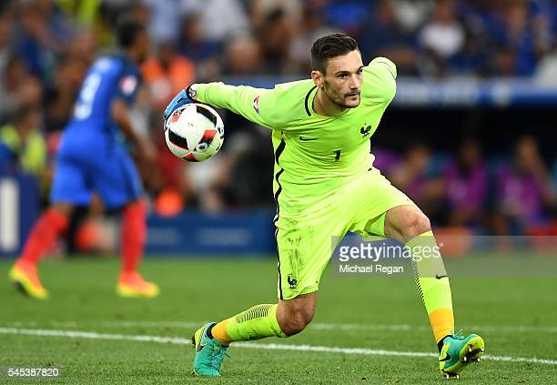 Hugo Lloris of France in action during the UEFA EURO semi final match between Germany and France at Stade Velodrome on July 7 2016 in Marseille France