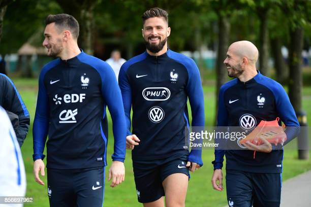 Hugo Lloris of France Olivier Giroud of France and Christophe Jallet of France during the training session at Centre National du Football on October...