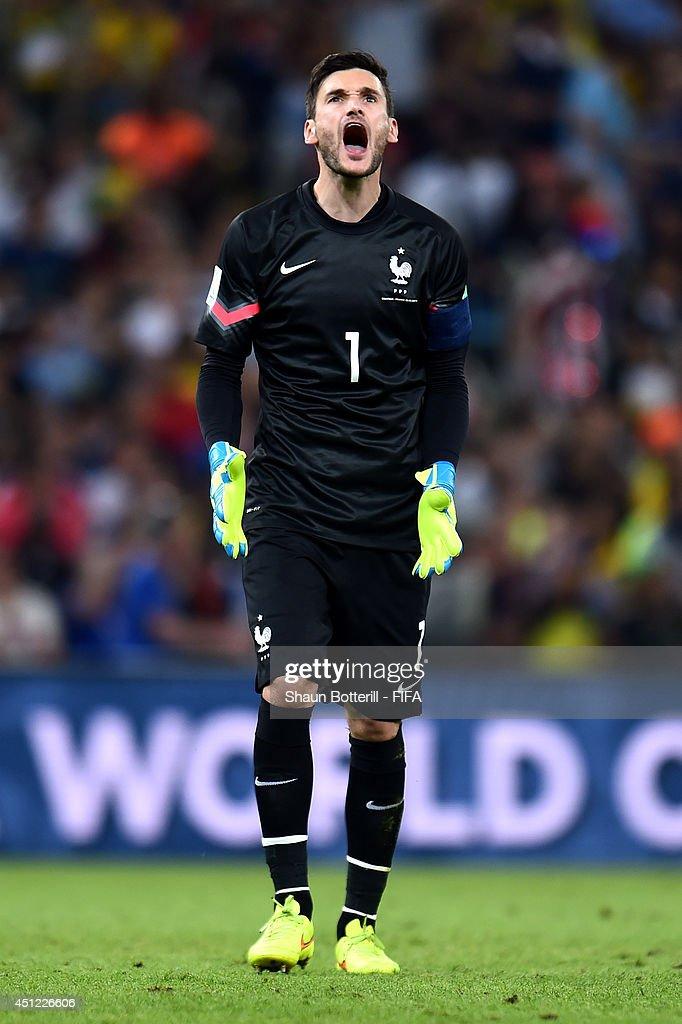 Hugo Lloris of France reacts during the 2014 FIFA World Cup Brazil Group E match between Ecuador and France at Maracana on June 25, 2014 in Rio de Janeiro, Brazil.