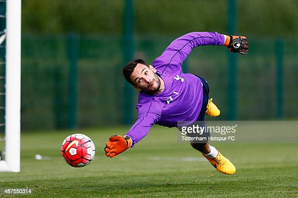 Hugo Lloris of Spurs makes a save during Tottenham Hotspur Training Session on September 10 2015 in Enfield England