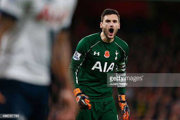 Hugo Lloris of Spurs reacts during the Barclays Premier League match between Arsenal and Tottenham Hotspur at the Emirates Stadium on November 8 2015...