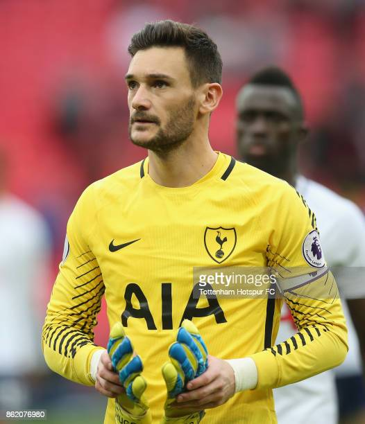 Hugo Lloris of Tottenham at the end of the Premier League match between Tottenham Hotspur and AFC Bournemouth at Wembley Stadium on October 14 2017...