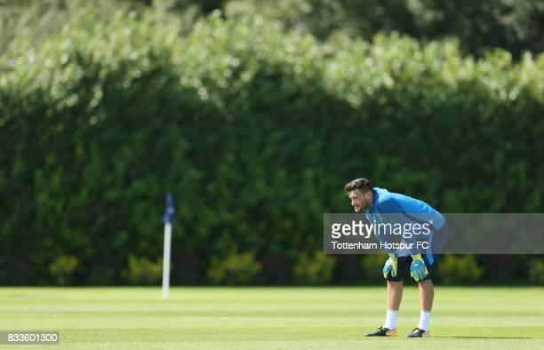 Hugo Lloris of Tottenham during the Tottenham Hotspur training session at Tottenham Hotspur Training Centre on August 17 2017 in Enfield England